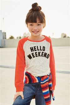 Hello Weekend Slogan Raglan Top (3-16yrs)