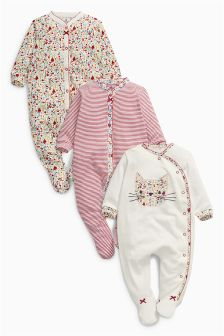 Floral Print Sleepsuits Three Pack (0mths-2yrs)
