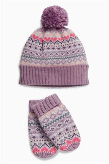 Fairisle Pattern Beanie and Mittens Set (Younger Girls)