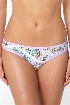Floral Print High Leg Bikini Briefs