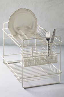 2 Tier Cream Metal Dish Drainer