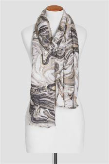 Marble Foil Print Scarf