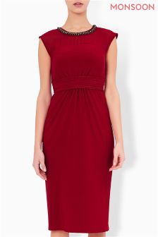 Monsoon Red Serena Embroidered Dress