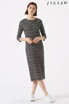 Jigsaw Black Surface Comb Midi Jersey Dress