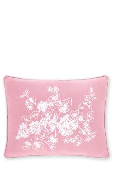 Embroidered Peony Floral Cushion