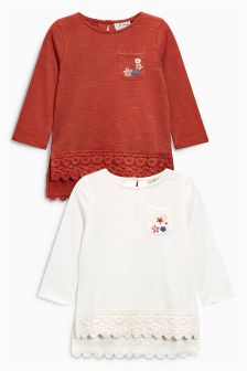 Long Sleeve Lace T-Shirts Two Pack (3mths-6yrs)