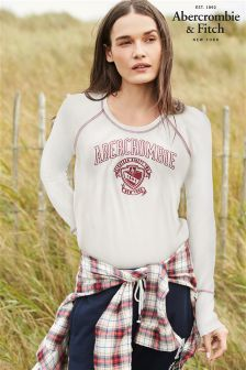 Abercrombie & Fitch White Long Sleeve Henley Tee