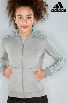 adidas Essential 3 Stripe Zip Grey Hoody