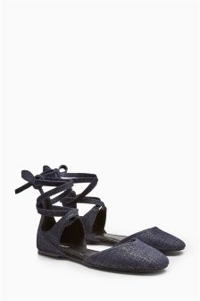 Suede Ankle Wrap Shoes