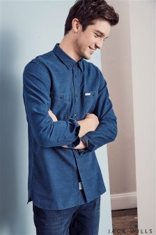 Jack Wills Navy Pegswood Dobby Shirt