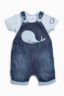 Whale Crop Dungarees With Short Sleeved Bodysuit (0mths-2yrs)