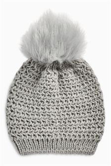 Faux Fur Pom Pom Beanie (Older Girls)