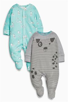 Dog Character Sleepsuits Two Pack (0mths-2yrs)