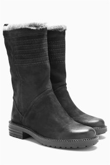Leather Stitch Slouch Boots