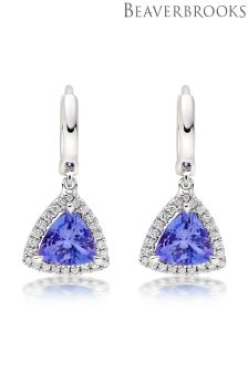 Beaverbrooks 18ct White Gold Tanzanite And Diamond Earrings