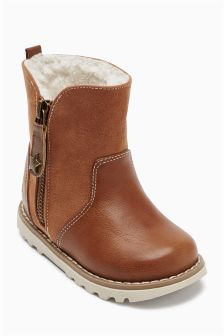 Zip Detail Boots (Younger Girls)