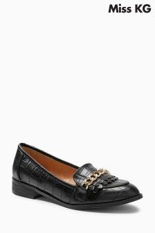 Miss KG Miller Black Croc Chain Loafer