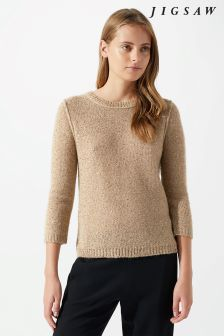 Jigsaw Cream Sparkle Half Sleeve Sweater