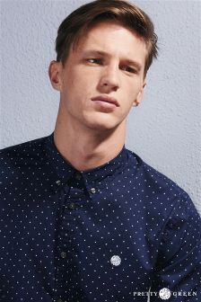 Pretty Green Navy Polka Dot Shirt