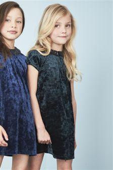 Velvet Sequin Collar Dress (3-12yrs)