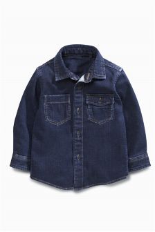 Long Sleeve Jersey Denim Shirt (3mths-5yrs)