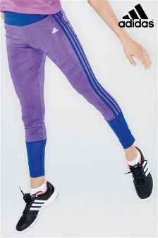 adidas Purple All Over Print 3 Stripe Legging