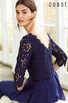 Coast Navy Sardinia Lace Top
