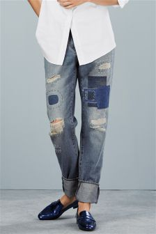 Patch And Ripped Boy Fit Jeans
