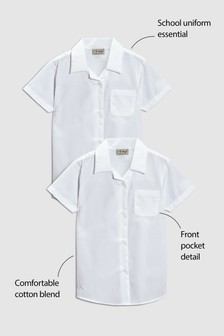 Short Sleeve Rever Collar Blouse Two Pack (3-16yrs)