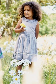 Chambray Stripe Ruffle Collar Dress (3mths-6yrs)
