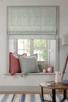 Blue Textured Linen Look Woven Stripe Roman Blind