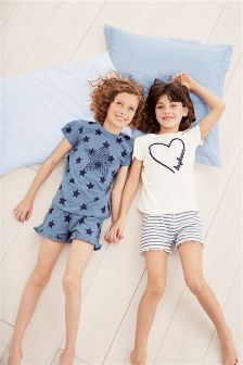 Heart And Star Short Pyjamas Two Pack (3-16yrs)