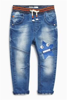 Mid Blue Star Zip Mouth Jeans (3mths-6yrs)