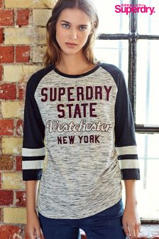 Superdry Grey Long Sleeve Logo Tee