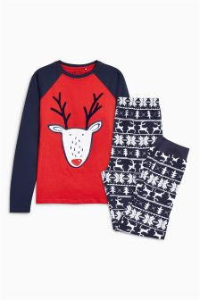 Fairisle Pattern Rudolph Pyjamas (3-16yrs)