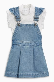 Pinafore And Broderie Blouse Set (3mths-6yrs)