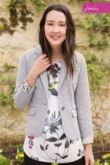 Joules Olivia Grey Dogstooth Soft Jersey Blazer