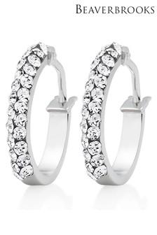Beaverbrooks 9ct White Gold Crystal Hoop Earrings