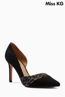 Miss KG Cai Black Lace Panel Court Shoe