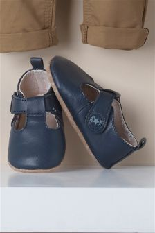 Pram Leather T-Bar Shoes (Younger Boys)