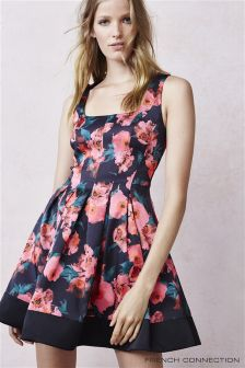 French Connection Black Floral Poppy Print Dress
