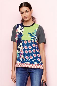 Floral Splice Short Sleeve T-Shirt