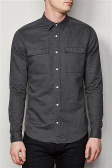 Long Sleeve Utility Linen Blend Shirt