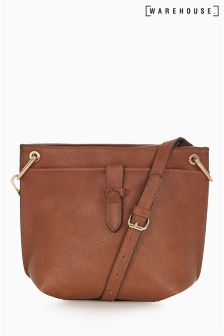 Warehouse Tan Double Tab Detail Cross Body Bag