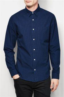 Long Sleeve Micro Check Shirt