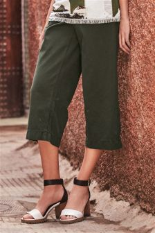 Tie Waist Crop Wide Leg Trousers