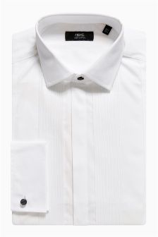 Plain Pleated Bib Front Shirt