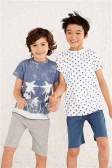 Palm Tree Short Pyjamas Two Pack (3-16yrs)