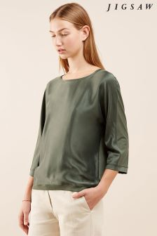 Jigsaw Green Silk Satin Batwing Top