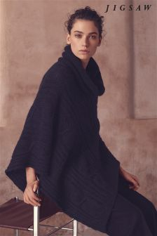 Jigsaw Navy Cable Knit Roll Neck Poncho